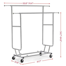 Load image into Gallery viewer, The best topeakmart commercial grade adjustable double rail clothing hanging rack on wheels rolling garment rack drying rack w wheels chrome finish