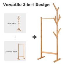 Load image into Gallery viewer, Great langria single rail bamboo garment rack with 8 side hook tree stand coat hanger and four stable leveling feet for jacket umbrella clothes hats scarf and handbags natural wood finish