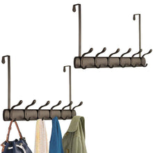 Load image into Gallery viewer, Top rated mdesign decorative over door long easy reach 12 hook metal storage organizer rack to hang jackets coats hoodies clothing hats scarves purses leashes bath towels robes 2 pack bronze