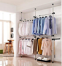 Load image into Gallery viewer, Latest goldcart gc552222 portable indoor garment rack coat hanger clothes wardrobe height 160 320cm width 120 220cm adjustable grey close to white pipes and black brackets 2 count