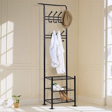 Load image into Gallery viewer, Amazon hall tree coat rack black metal coat hat shoe bench rack 3 tier storage shelves free standing clothes stand 18 hooks entryway corner hallway garment organizer