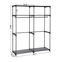 Load image into Gallery viewer, Related songmics closet storage organizer portable wardrobe with hanging rods clothes rack foldable cloakroom study stable 55 1 x 16 9 x 68 5 inches gray uryg02gy