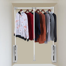 Load image into Gallery viewer, Online shopping estink wardrobe hanger lift pull down wardrobe rail adjustable width wardrobe clothes hanging rail soft return space saving adjustable 19 29 25inch