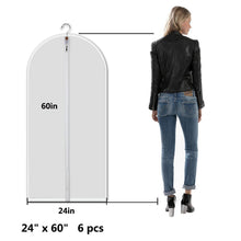 Load image into Gallery viewer, Related allhom dust proof clothing bags pack of 6 pcs 60 inch large hanging garment bags and cedar balls for coat long dress gowns and dance costumes