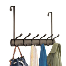 Load image into Gallery viewer, Amazon mdesign decorative over door long easy reach 12 hook metal storage organizer rack to hang jackets coats hoodies clothing hats scarves purses leashes bath towels robes 2 pack bronze