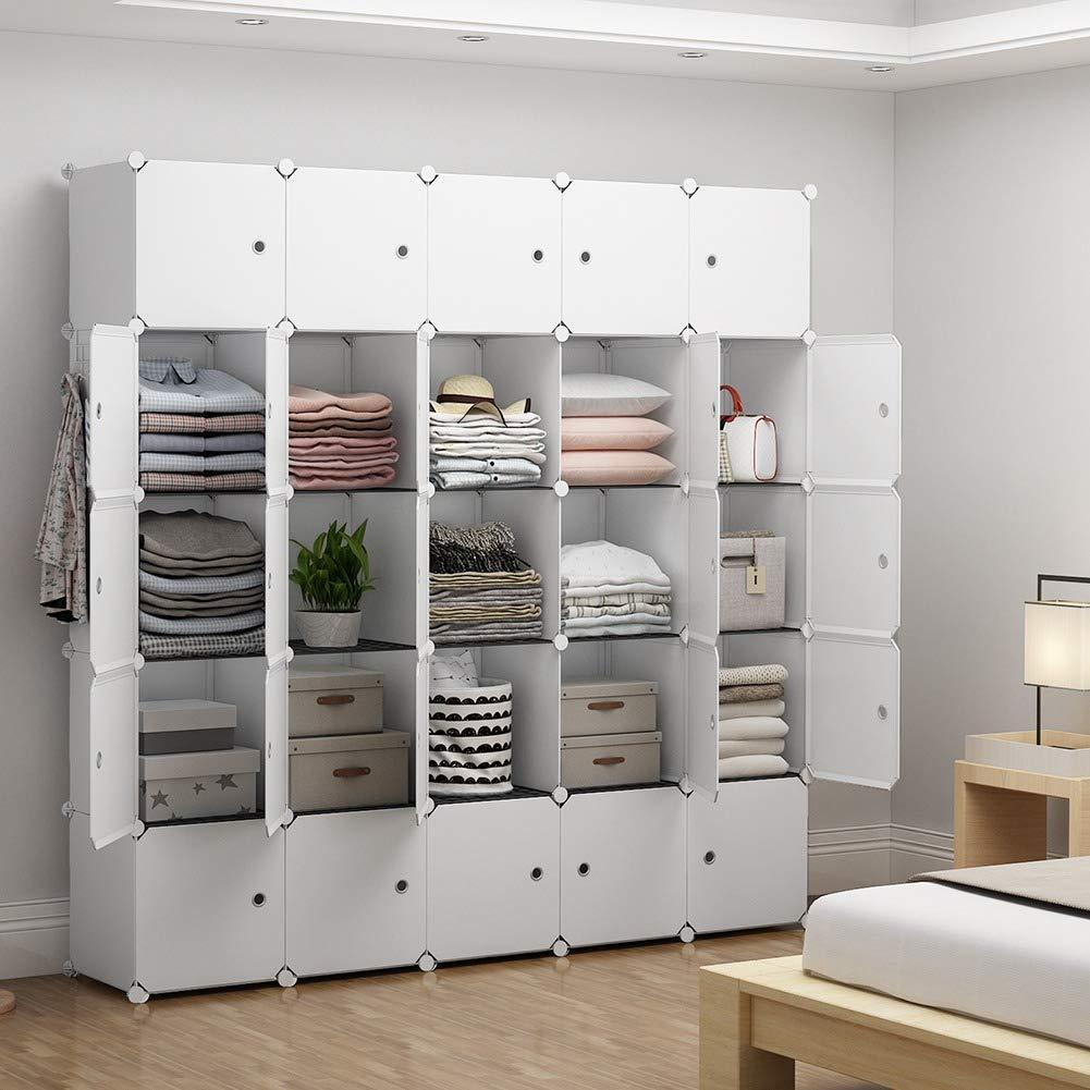 Shop here yozo modular closet portable wardrobe for teens kids chest drawer ployresin clothes storage organizer cube shelving unit multifunction toy cabinet bookshelf diy furniture white 25 cubes