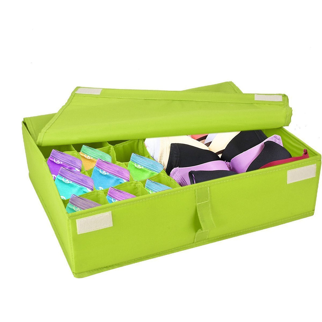 Begost Storage Bins Foldable Underwear Organizer Storage Box Washable Multi-functional Drawer Dividers 2 in 1 Closet Divider Storage Box with Cover for Underwear Socks Ties Bra and Bins,Green