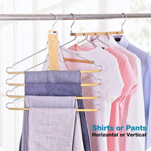 Load image into Gallery viewer, The best bestool pants hangers wooden pant hangers non slip wood hangers clothes hangers for closet space saving heavy duty coat hanger huggable baby hangers dual use trouser hanger