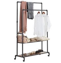 Load image into Gallery viewer, Discover the homissue 72 inch industrial pipe double rail hall tree with shoe storage on wheel 2 shelf rolling clothes rack organizer with 2 hanging rod for garment storage display vintage brown