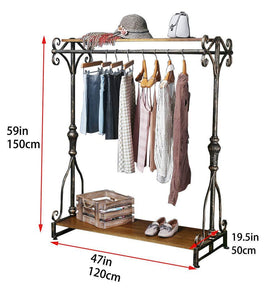 Shop qianniu industrial clothing rack display commercial grade heavy duty garment rack with shelves vintage steampunk hat rack shoes rack cloth hanger 47