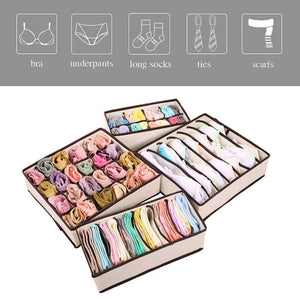 Save on aitmexcn closet underwear organizer foldable storage box drawer divider kit for socks panties bra ties clothing set of 4 beige