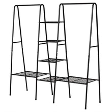 Load image into Gallery viewer, Best seller  metal garment rack heavy duty indoor bedroom clothing hanger with top rod and lower storage shelf clothes rack with 1 tier shelves black