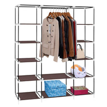 Load image into Gallery viewer, Budget amashion 69 5 tier portable clothes closet wardrobe storage organizer with non woven fabric quick and easy to assemble dark brown