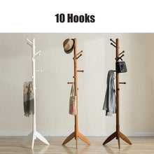 Load image into Gallery viewer, Shop here sweet honey cloth hanger rack stand tree hat hanger holder free standing solid wood coat rack floor hanger for bedroom living room hall 10 hooks r 47x175cm19x69inch