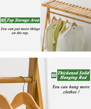 Load image into Gallery viewer, Great copree bamboo garment coat clothes hanging heavy duty rack with top shelf and 2 tier shoe clothing storage organizer shelves