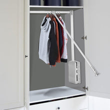 Load image into Gallery viewer, Products estink wardrobe hanger lift pull down wardrobe rail adjustable width wardrobe clothes hanging rail soft return space saving adjustable 19 29 25inch