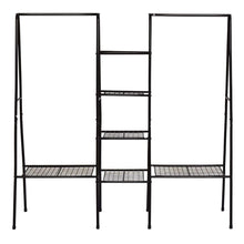 Load image into Gallery viewer, Best metal garment rack heavy duty indoor bedroom clothing hanger with top rod and lower storage shelf clothes rack with 1 tier shelves black