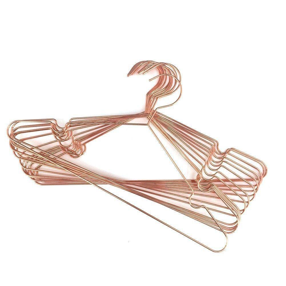 Top koobay 30pack 17 rose shiny copper clothes metal wire hanging hangers for shirts coat storage display