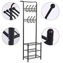 Load image into Gallery viewer, Top rated hall tree coat rack black metal coat hat shoe bench rack 3 tier storage shelves free standing clothes stand 18 hooks entryway corner hallway garment organizer