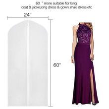 Load image into Gallery viewer, Online shopping zilink garment bags for long dresses 60 inch translucent suit bag with full length zipper set of 6 for dance costumes gown dress clothes storage upgraded version