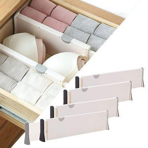 DIOMMELL 4 Pack Adjustable Dresser Drawer dividers Organizers, Plastic Expandable Drawer Organization Separators for Kitchen, Bedroom, Closet, Bathroom and Office Drawers, White