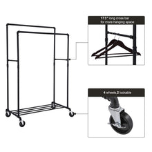 Load image into Gallery viewer, Budget songmics industrial pipe double rail wheels with commercial grade clothing hanging rack organizer for garment storage display black uhsr60b