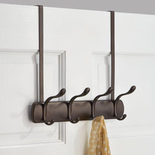Load image into Gallery viewer, Select nice interdesign bruschia over door storage rack organizer hooks for coats hats robes clothes or towels 4 dual hooks bronze
