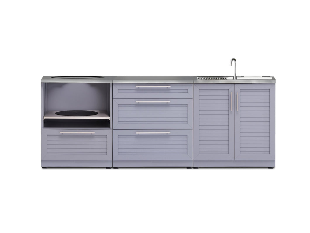 Outdoor Kitchen Aluminum 3 Piece Cabinet Set
