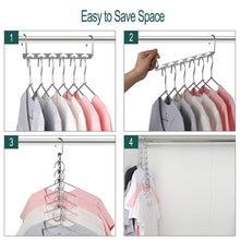 Load image into Gallery viewer, Shop here meetu space saving hangers wonder multifunctional clothes hangers stainless steel 6x2 slots magic hanger cascading hanger updated hook design closet organizer hanger pack of 20
