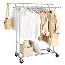 Load image into Gallery viewer, Budget friendly songmics double rail garment rack rolling clothes rack with bottom rods for coats shirts dresses scarves bags shoe boxes chrome ullr23c