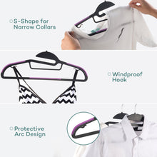 Load image into Gallery viewer, Purchase sable 60 pack plastic clothes hangers space saving ultra thin with 10 finger clips non slip heavy duty s shape for tight collars 6 colors for shorts pants shirts scarves