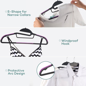 Purchase sable 60 pack plastic clothes hangers space saving ultra thin with 10 finger clips non slip heavy duty s shape for tight collars 6 colors for shorts pants shirts scarves