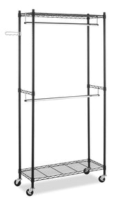 Latest whitmor supreme double rod garment rack rolling clothes organizer black with chrome