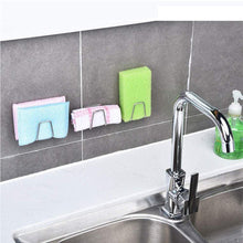 Load image into Gallery viewer, Amazon best adhesive sink sponge holder sponge holder for kitchen sink stainless steel adhesive sponge holder sink caddy in bathroom washroom kitchen for holding sponges soaps scrubbers dishcloth