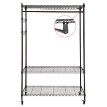 Load image into Gallery viewer, Save on homdox 3 tiers large size heavy duty wire shelving garment rolling rack clothing rack with double clothes rods and lockable wheels 1 pair side hooks black
