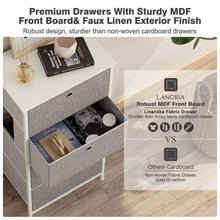 Load image into Gallery viewer, Great langria 4 drawer home dresser storage tower clothes organizer with easy pull faux linen drawers and metal frame features wooden tabletop premium finish for guest room dorm hallway or office grey