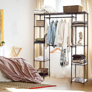 Organize with tangkula garment rack portable adjustable expandable closet storage organizer system home bedroom closet shelves clothes wardrobe coffee
