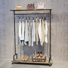 Load image into Gallery viewer, Shop industrial pipe clothing rack on wheels vintage rolling rack for hanging clothes retail display clothing racks with shelves wooden garment rack with wheels heavy duty clothes rack cloths coat rack