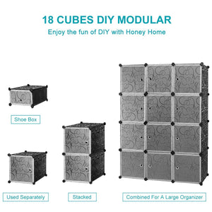 Best seller  honey home diy modular shelving storage organizer 18 cube extra large portable wardrobe with clothes rod 12 cubes organizing cabinet 6 cubes shoe rack