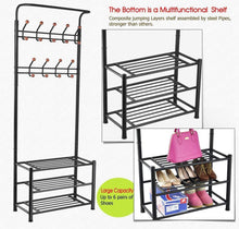 Load image into Gallery viewer, Cheap finefurniture entryway coat and shoe rack with 18 hooks and 3 tier shelves fashion garment rack bag clothes umbrella and hat rack with hanger bar