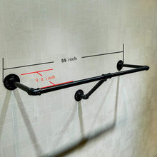 Load image into Gallery viewer, Shop here warm van industrial pipe wall mounted clothes hanging shelves system metal clothing towel rack garment rack perfect for retail display closet organizationone pipe shelves 59 l