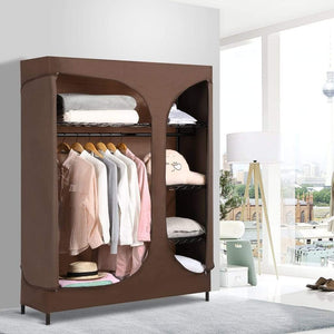 Select nice langria heavy duty wire shelving garment rack clothes rack portable clothes closet wardrobe compact zip closet extra large wardrobe storage rack organizer hanging rod capacity 420 lbs dark brown