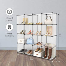 Load image into Gallery viewer, Save langria 16 cube modular clothes shelving storage organizer diy plastic shoe rack cabinet translucent white