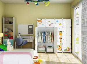 Amazon kousi kids dresser kids closet portable closet wardrobe children bedroom armoire clothes storage cube organizer white with cute animal door safety large sturdy 10 cubes 2 hanging sections