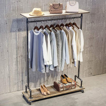 Load image into Gallery viewer, Shop here industrial pipe clothing rack on wheels vintage rolling rack for hanging clothes retail display clothing racks with shelves wooden garment rack with wheels heavy duty clothes rack cloths coat rack