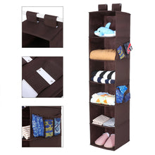 Load image into Gallery viewer, Featured magicfly hanging closet organizer with 4 side pockets 6 shelf collapsible closet hanging shelf for sweater handbag storage easy mount hanging clothes storage box brown
