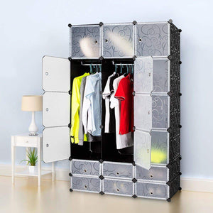 Amazon best honey home diy modular shelving storage organizer 18 cube extra large portable wardrobe with clothes rod 12 cubes organizing cabinet 6 cubes shoe rack
