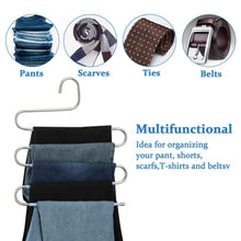 Load image into Gallery viewer, Results doiown s type stainless steel clothes pants hangers closet storage organizer for pants jeans scarf hanging 14 17 x 14 96ins set of 3 5 pieces light blueupgrade style