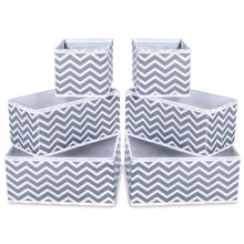 Load image into Gallery viewer, Home storage bins ispecle foldable cloth storage cubes drawer organizer closet underwear box storage baskets containers drawer dividers for bras socks scarves cosmetics set of 6 grey chevron pattern
