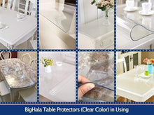 Load image into Gallery viewer, Amazon best bighala table protector clear plastic tablecloth pvc cover waterproof wipeable vinyl cloths pad for rectangle dining tables living room coffe table mat furniture topper protector 40 x 78 inch